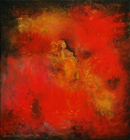 Födsel (svävande kvinna i rött)