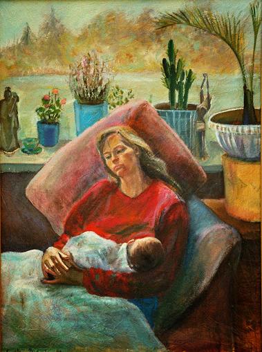 Mor och barn, olja